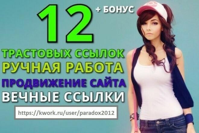 Размещу 12 вечных ссылок с трастовых сайтов, ручная работа + бонус 1 - kwork.ru