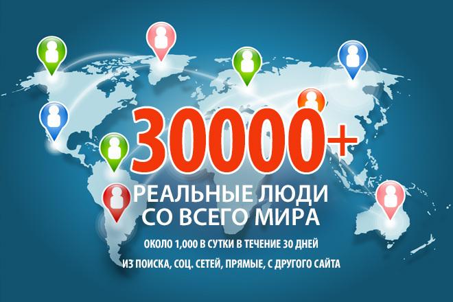 30000+ посещений реальными людьми в течение 30 дней 1 - kwork.ru