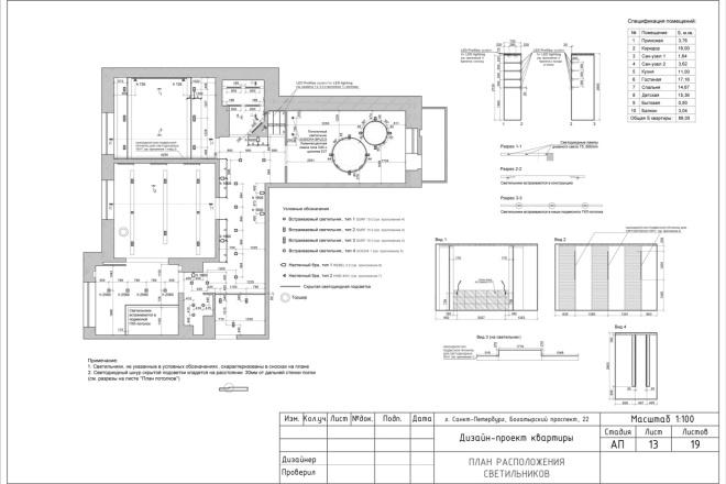 Планировка или пакет рабочих чертежей для проекта интерьера 27 - kwork.ru